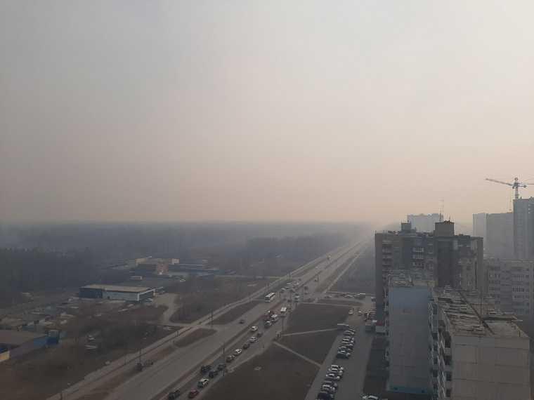 Тобольск затянуло смогом от лесных пожаров. Фото